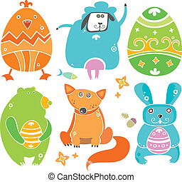 Cute Easter animals with eggs.