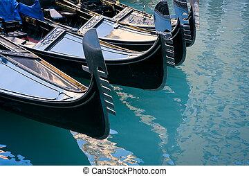Gondolas moored at Bacino Orseolo in Venice - Gondolas...