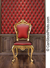 armchair - golden chair in the luxurious interior.
