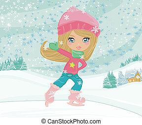 niña, patines