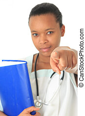 African American doctor nurse black book and stethoscope...