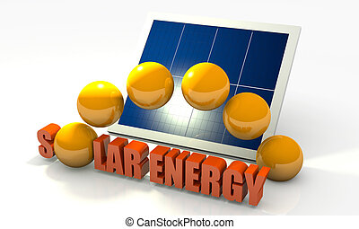 Renewable energy, solar panel - Solar energy image with...