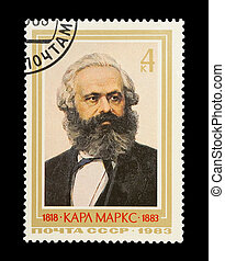 Karl Marx - Mail stamp printed in the USSR (CCCP) featuring...
