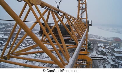 Winter construction. With the boom