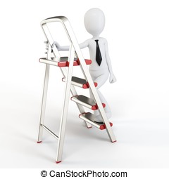 3d man climbing a small ladder on white background