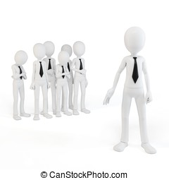 3d man businessman leader with his team