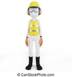 equipamento,  3D, segurança, homem