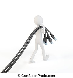 3d man with network cables on white background