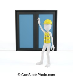 3d man with safety gear stopping at the door