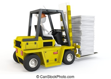 3d man with forklift carrying stuff