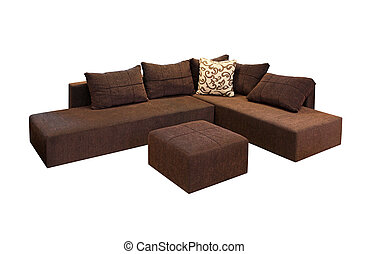 Corner set - Brown corner set furniture isolated included...