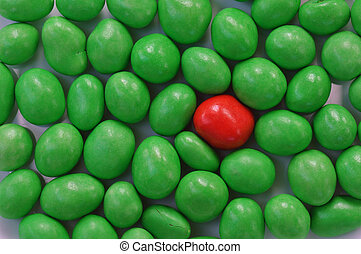 Red and Green Candy - red surrounded by green candy