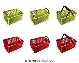 3D, プラスチック, 買い物, バスケット