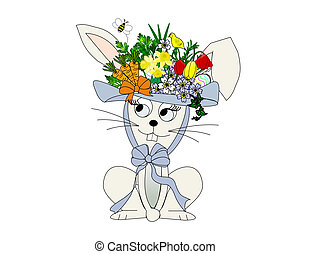 Easter Bunny - An illustration of a rabbit wearing a flowery...