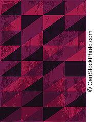 Triangles retro background with grunge texture in dark...