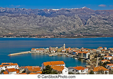 Town of Vinjerac and Velebit mountain with Paklenica...