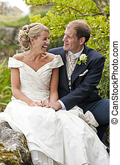 Bride and Groom - A newly wed Bride and Groom sharing a few...