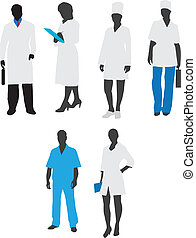 Silhouettes of medical staffVector - Illustration of three...
