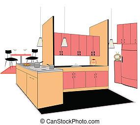 retro kitchen interio