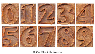 outlined numbers in letterpress type