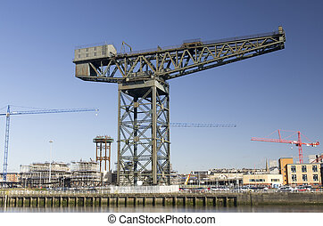 Finnieston crane Glasgow landmark on River Clyde - Modern...