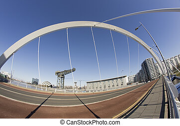 Sunshine and blue sky in Glasgow. Fisheye lens used to show...