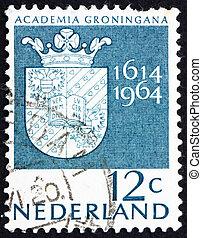 Postage stamp Netherlands 1964 Arms of Groningen University...