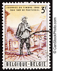 Postage stamp Belgium 1966 Rural Mailman, 19th Century -...