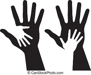 Helping hands, abstract vector illustrations