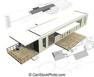 Housing architecture plans with 3D building structure