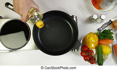 Pouring Oil On Frying Pan - Female Hand poured oil on frying...