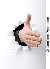 agujero, papel, por, mano