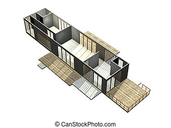 Modern Architecture. 3D rendered Illustration.