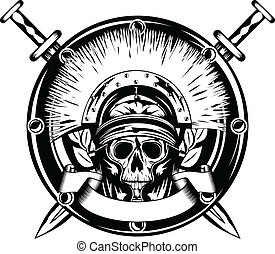 skull in helmet and crossed sword - Vector image skull in...