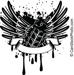 wings with grenade - Vector image design of a T-short wings...