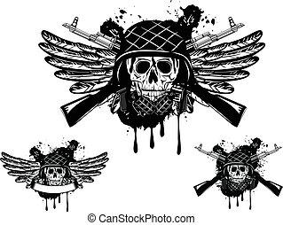 skull in helmet and grenade - Vector image of skull in an...