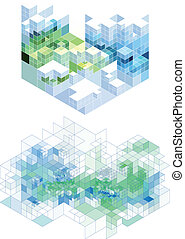 abstract cubic background, vector - abstract background with...