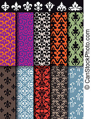 seamless baroque patterns, vector