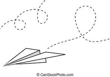 Paper Airplane - Isolated paper airplane with flying trail...