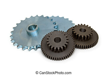 four gear wheels isolated on white