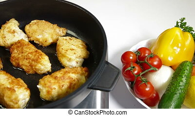 Food Preparation - Frying Chicken - frying chicken breast...