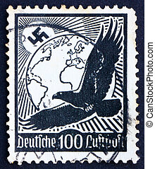 Postage stamp Germany 1934 Swastika Sun, Globe and Eagle -...