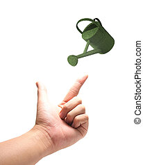 green Eco watering-can concept  with hand isolated on white background.