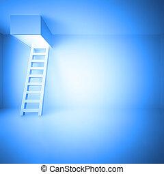 Ladder upwards in a light room