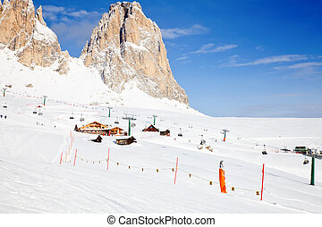 Ski Resort Area - View of the Val Di Fassa ski resort in...