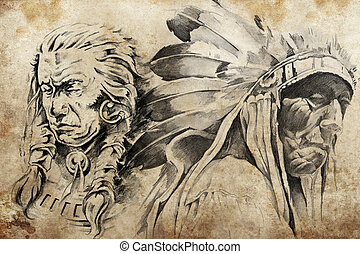 Tattoo sketch of American Indian warriors