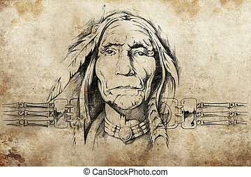 sketch of American Indian elder, tattoo