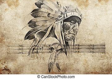 tatuagem, Esboço, americano, indianas, tribal, chefe,...