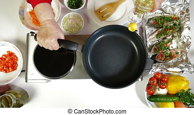 Pouring Oil On Frying Pan - Female Pouring Cooking Oil On...