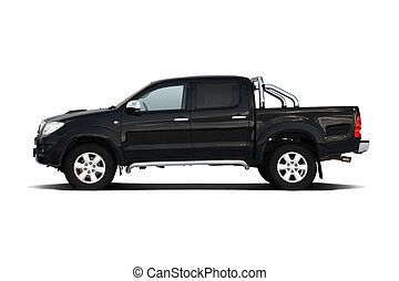 Black pickup truck isolated on white